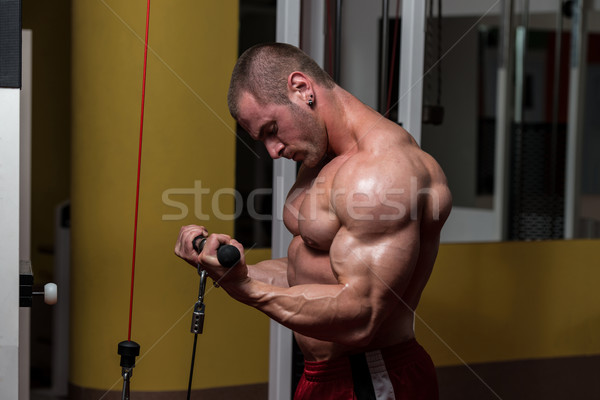 Muscular Man Doing Heavy Weight Exercise For Biceps Stock photo © Jasminko