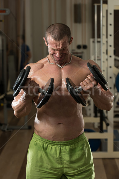 Young Man Working Out Biceps Dumbbell Concentration Curls Stock photo © Jasminko