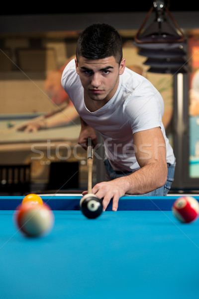 Männlich Pool Spieler Mann Sport Ball Stock foto © Jasminko