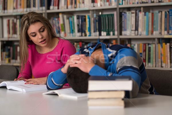 Male Student Sleeping In Library Stock photo © Jasminko