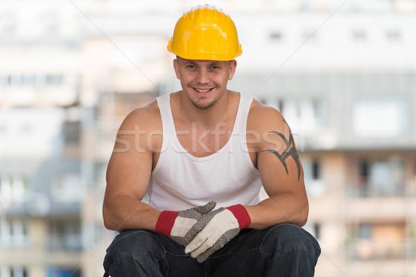 ワーカー 座って レンガ 建設作業員 リラックス ストックフォト © Jasminko