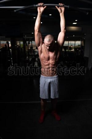 woman exercising fitness man coach using digital tablet Stock photo © Jasminko