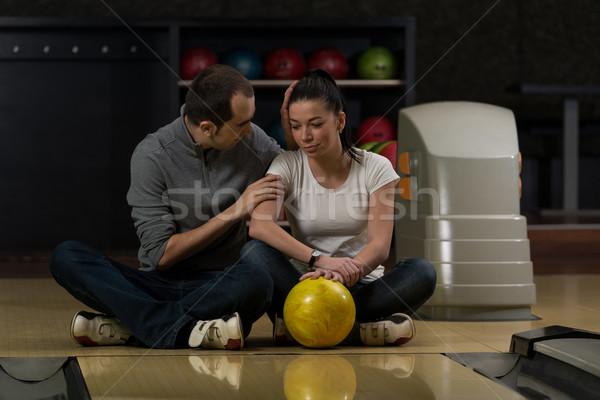 Ensino boliche casal diversão feminino masculino Foto stock © Jasminko
