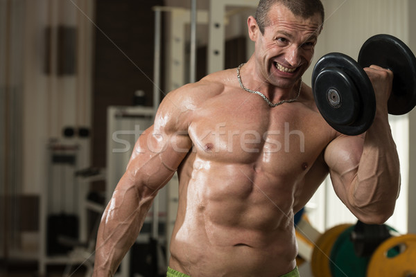 Bodybuilder Working Out Biceps In A Health Club Stock photo © Jasminko