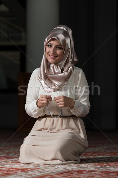 молодые мусульманских женщину молиться мечети рук Сток-фото © Jasminko