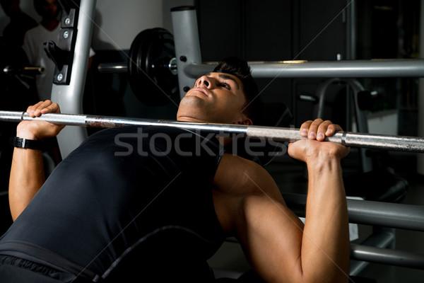 Stockfoto: Bank · druk · training · sport · lichaam · mannen