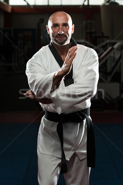 Black Belt Karate Expert With Fight Stance Stock photo © Jasminko