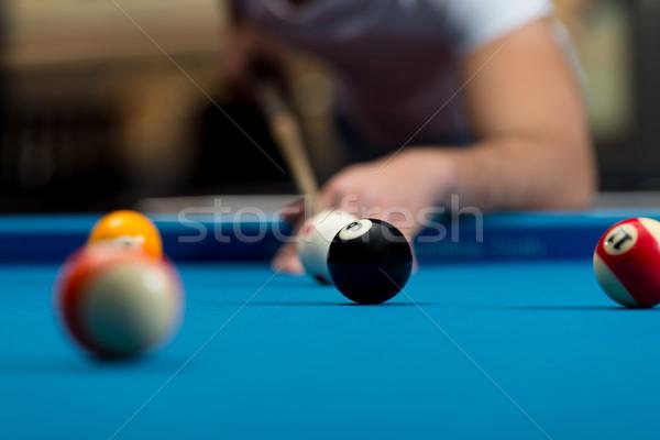 Fiatal személy játszik snooker férfi sport Stock fotó © Jasminko