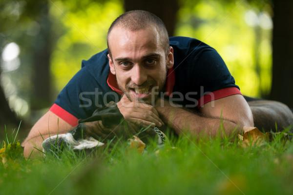 Melhor amigo cão amor floresta cães sorridente Foto stock © Jasminko