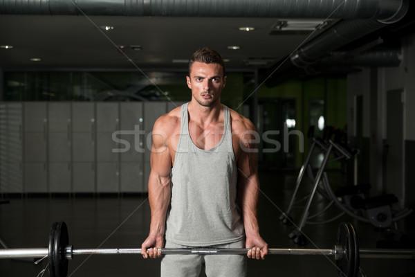 Werken barbell sport lichaam fitness schoonheid Stockfoto © Jasminko
