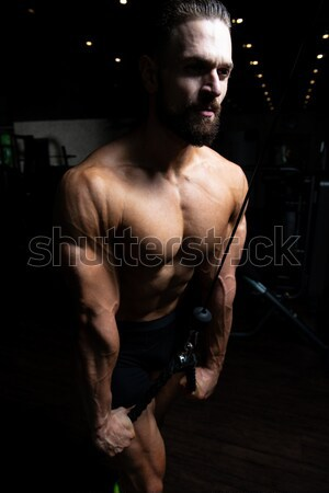 Bodybuilder Performing Triceps With A Dumbbell Stock photo © Jasminko