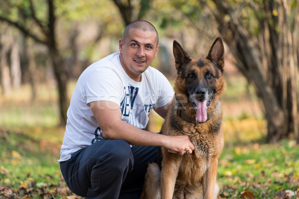 Man And His Dog German Shepherd Stock photo © Jasminko