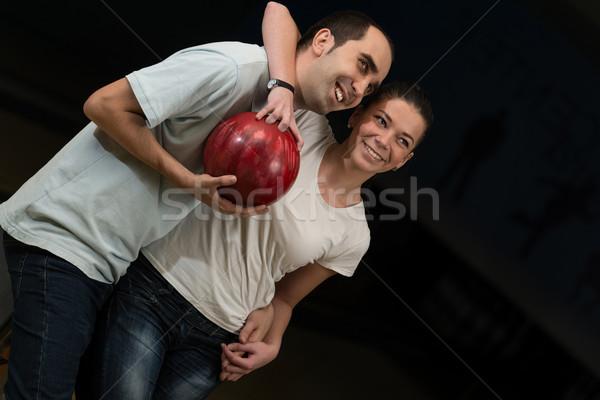 Casal boliche diversão feminino masculino Foto stock © Jasminko
