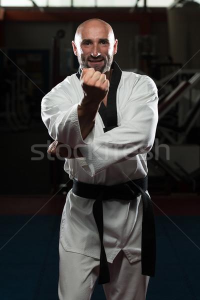 Taekwondo lutador especialista lutar posição homem maduro Foto stock © Jasminko