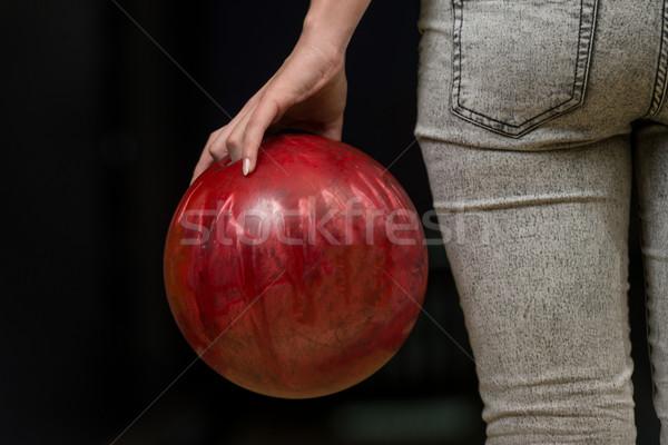 Popo bowling topu göt bowling oynama Stok fotoğraf © Jasminko