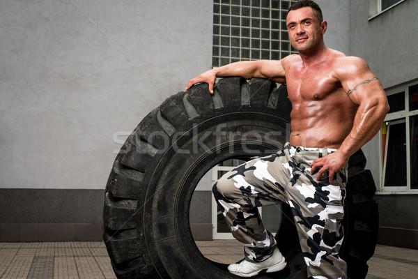 Testépítő pihen crossfit képzés férfi életstílus Stock fotó © Jasminko