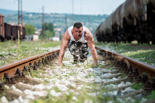 ランナー スタンス スポーツ 男性 を実行して 肖像 ストックフォト © Jasminko