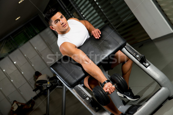 Powerful muscular man lifting weights Stock photo © Jasminko