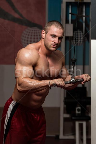 Triceps wykonywania młodych kulturysta ciężki masy Zdjęcia stock © Jasminko