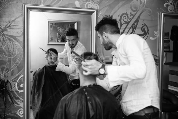 Tükröződés haj stylist hajstílus jóképű fiatal Stock fotó © Jasminko