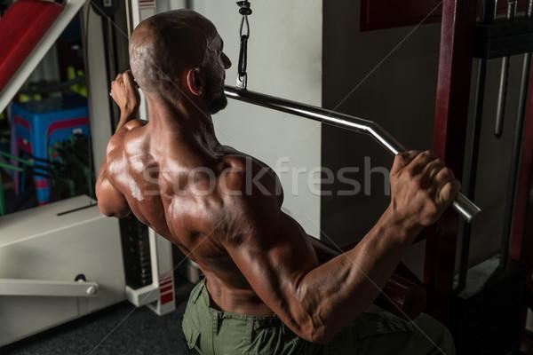 Saudável homem maduro exercer de volta homem ginásio Foto stock © Jasminko