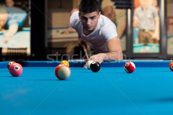 Billard Spieler Mann Sport Ball Erfolg Stock foto © Jasminko