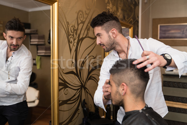 Professional Hairdresser With Short Hair Model Stock photo © Jasminko