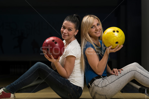Bowling topu çift eğlence Stok fotoğraf © Jasminko