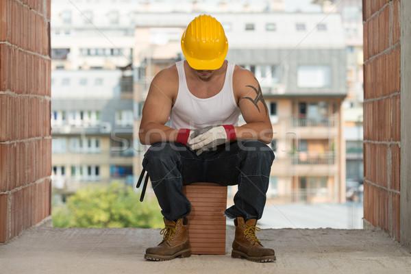 Tembel adam inşaat rahatlatıcı Stok fotoğraf © Jasminko