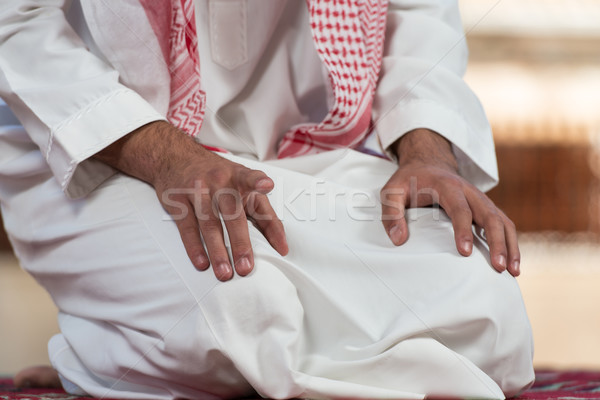 Close-Up Of Male Hands Praying In Mosque Stock photo © Jasminko