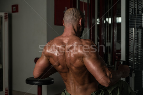 Geri egzersiz olgun erkek adam spor salonu Stok fotoğraf © Jasminko