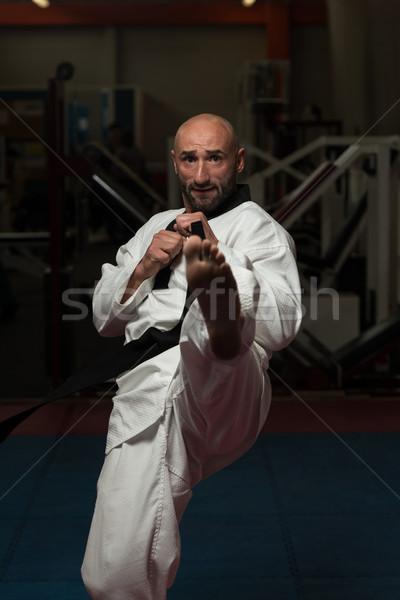 Taekwondo savaşçı poz olgun adam karate Stok fotoğraf © Jasminko