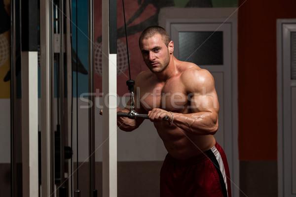 Jeunes Homme triceps gymnase bodybuilder lourd Photo stock © Jasminko