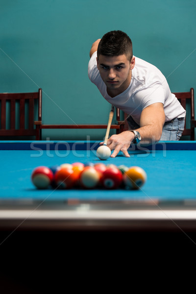 Giovane palla biliardo giovani uomini uomo sport Foto d'archivio © Jasminko
