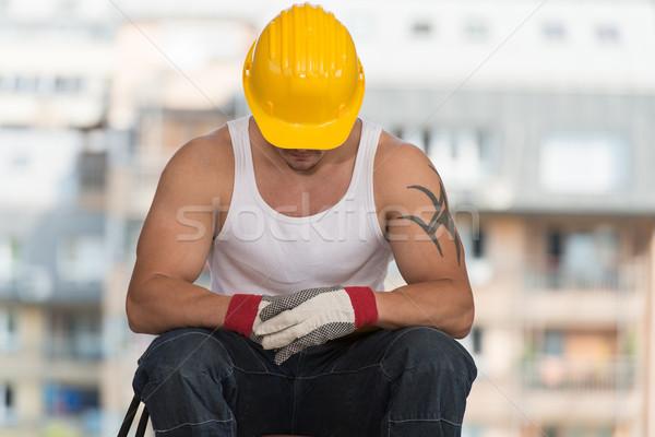 építőmunkás elvesz törik állás megnyugtató friss levegő Stock fotó © Jasminko
