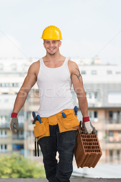 Construction Worker Carrying Brick Stock photo © Jasminko