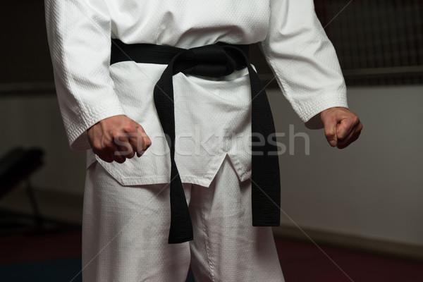 Siyah kemer savaşçı adam beyaz kimono Stok fotoğraf © Jasminko