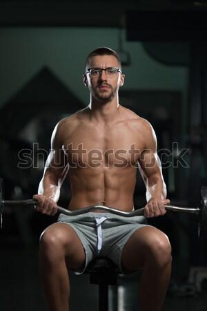 Handsome Muscular Men With Jumping Rope Stock photo © Jasminko