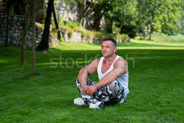 Bodybuilder Meditating Stock photo © Jasminko
