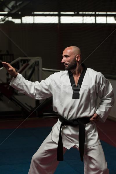 Preto cinto karatê especialista lutar posição Foto stock © Jasminko
