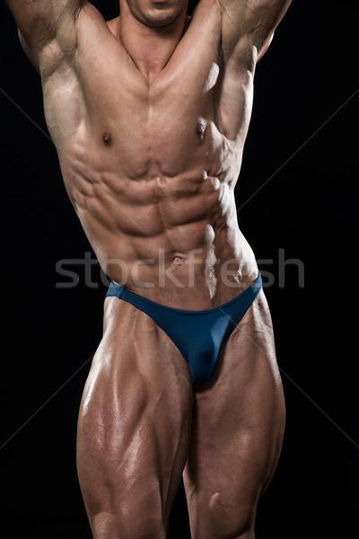 Rüya vücut siyah genç vücut geliştirmeci kaslar Stok fotoğraf © Jasminko