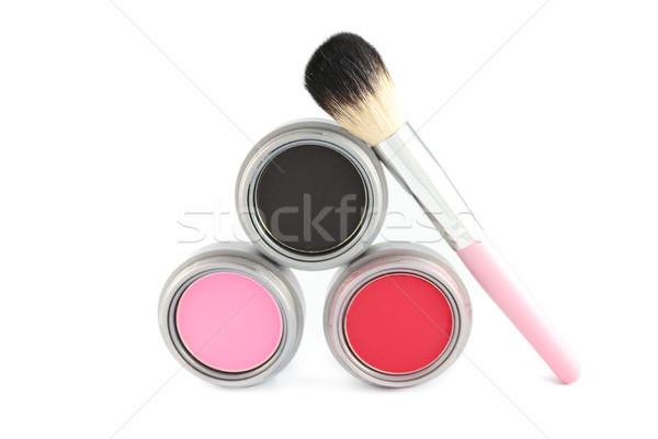 Kozmetika bőrpír ecset három különböző színek Stock fotó © javiercorrea15