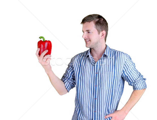 Piros paprika férfi tart nagy kezek Stock fotó © javiercorrea15