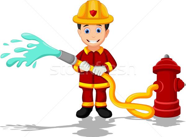 Tűzoltók rajz gyermek biztonság sétál gyerek Stock fotó © jawa123