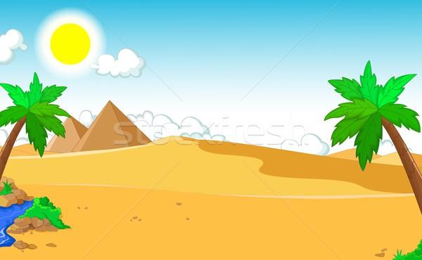 beautiful view of tree cartoon with desert landscape background Stock photo © jawa123
