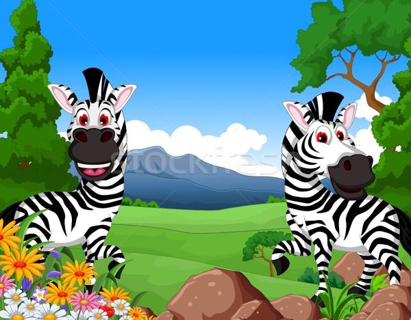 zebra cartoon in the jungle Stock photo © jawa123