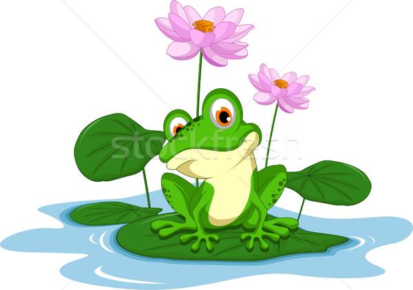 Vicces zöld béka rajz ül levél Stock fotó © jawa123