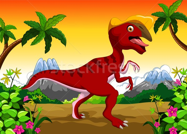 Dinosaur Parasaurolophus cartoon for your design Stock photo © jawa123