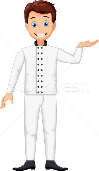 Vicces szakács rajz pózol férfi hal Stock fotó © jawa123