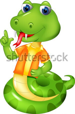 Cute serpent cartoon posant sourire pointant Photo stock © jawa123